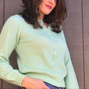 Norm Thompson Mint Green Cardigan Sweater Sz Small